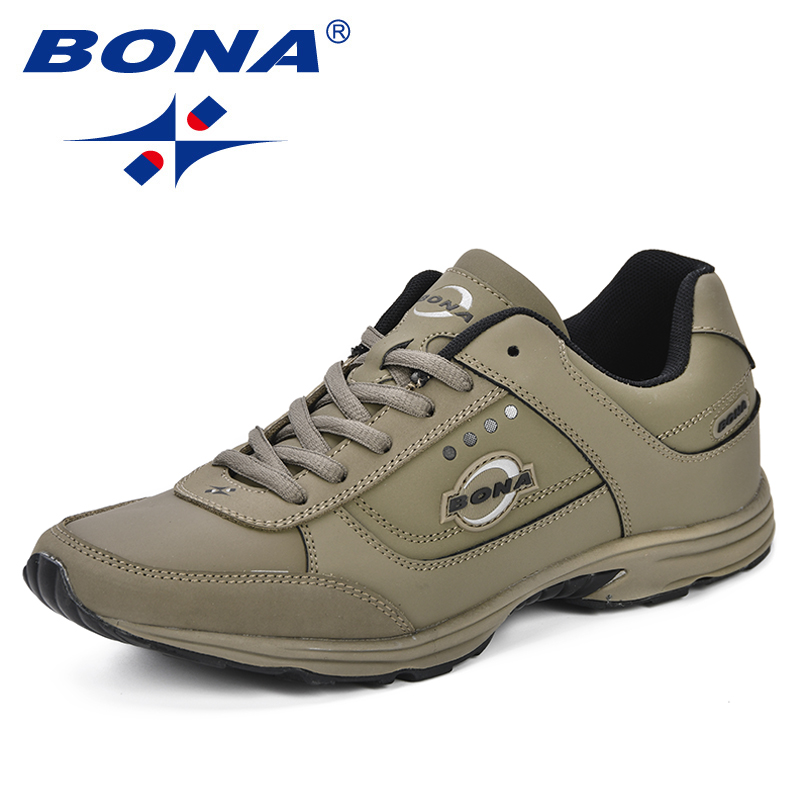 BONA New Krasovki Sports Men's Running Shoes Sneakers Outdoor Leather Breathable Krossovky Walking Athletic Shoes Men's Shoes faux leather insert breathable athletic shoes