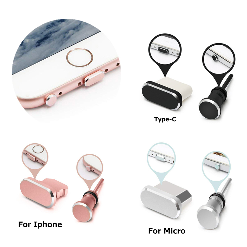 IPUMYNO Dust Plus For IPhone X 8 7 6S 5 Plus For Android Type C Charging Port Earphone Jack USB Dust Plug Set For Huawei Xiaomi