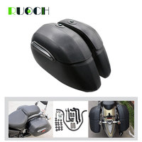 Motorcycle Cruiser Accessories Leather Saddlebag Saddle Bag W/ Bracket Mount for Harley Touring Road King Fat Boy Honda CBR1100