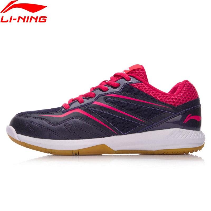 Li Ning Women POSEIDON Badminton Training Shoes Anti Slippery Light LiNing Sports Shoes Wearable Sneakers AYTN044