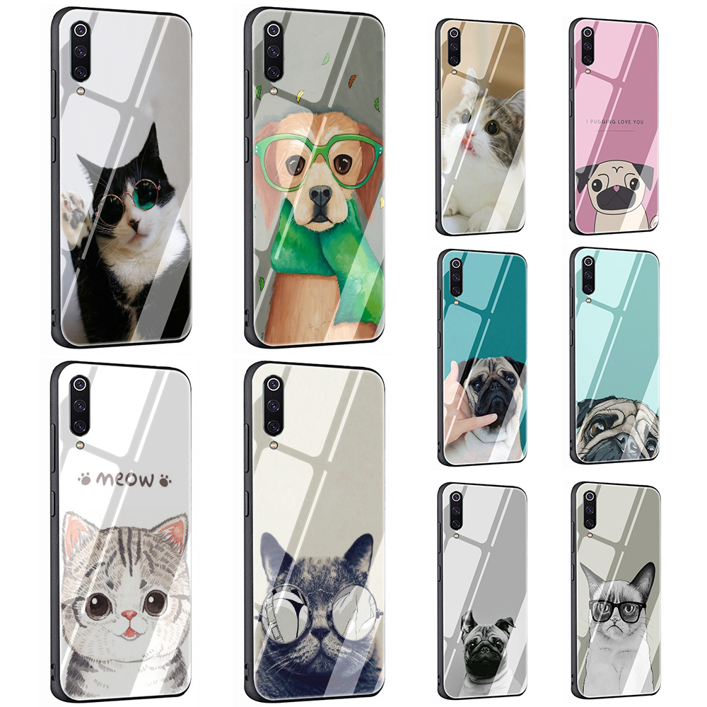 <font><b>Pug</b></font> Cute Cat with Glasses Tempered Glass phone case for <font><b>Xiaomi</b></font> 5X 6X 8 Lite 9 A1 <font><b>A2</b></font> F1 Redmi 4X 6A Note 5 6 7 Pro image