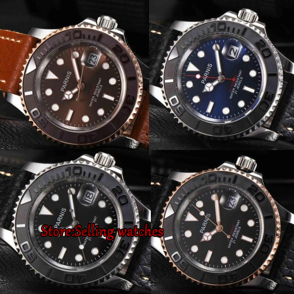 2017 New 40mm Parnis Mechanical Watches Man Ceramic Bezel Dial miyota Movement Mens Automatic Watch 5Bar Waterproof Wristwatch2017 New 40mm Parnis Mechanical Watches Man Ceramic Bezel Dial miyota Movement Mens Automatic Watch 5Bar Waterproof Wristwatch