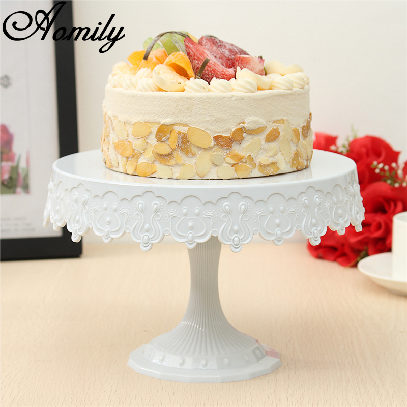 Aomily Plastic Cake Stand Round Cake Shelf Rack Holder For Wedding Party Cake Dessert Serving Tools Decoration European Style