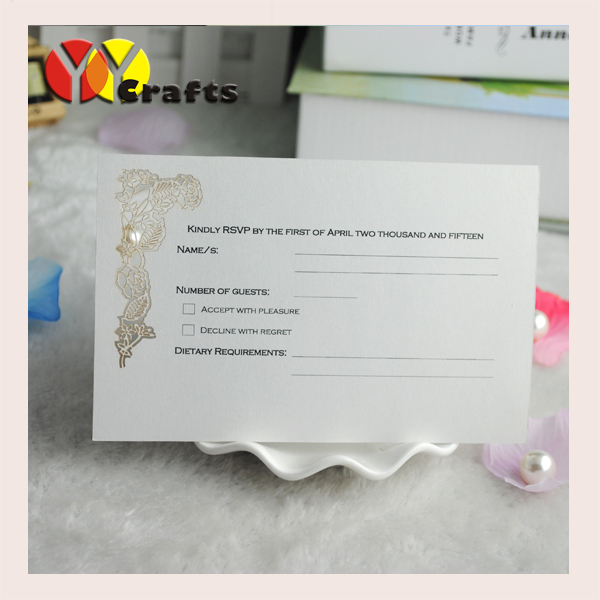 Hot sell wedding favor white wedding rsvp card free charge printing laser cut rose wedding invitation cards wholesale