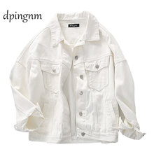 Denim Jacket For Women white Color Bomber Jeans Coat BF Style Loose Outwear tops A9025(China)