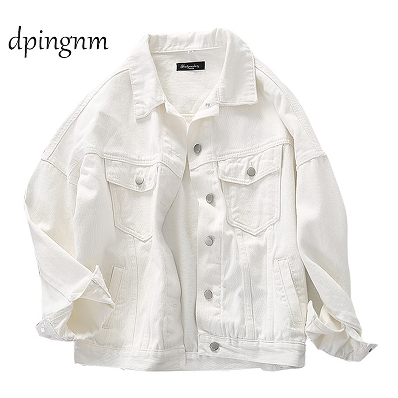 Denim Jacket For Women white Color Bomber Jeans Coat BF Style Loose Outwear tops A9025