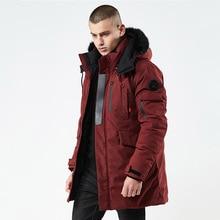 Новинка, Зимняя Повседневная Длинная стильная куртка с капюшоном, с погоном, с хлопковой подкладкой, Мужская Толстая шапка, ветрозащитная модная мужская парка с карманами, пальто