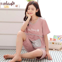 Fdfklak Cute Cartoon Plus Size Pajamas for Pregnant Women Short Sleeve  Cotton Pyjamas Set Summer Sleepwear c476d4e50