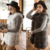 High Quality 100 Import Real Natural Fox Fur Vest Coat Sleeveless White Striped Loose Gilet Spring