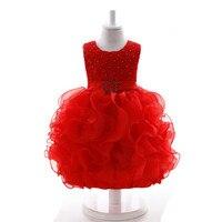 Berbeć Dziewczyny Fancy Princess Tutu Sukienka 1 rok urodziny Kwiat tutu Dziecko Sukienka Czerwony
