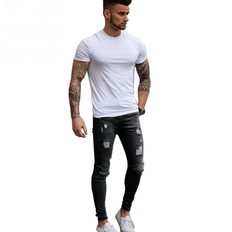 Men Jeans Casual Stretch Pencil Pants Denim Ripped Middle Waist Slim Fit Fashion Jeans ...