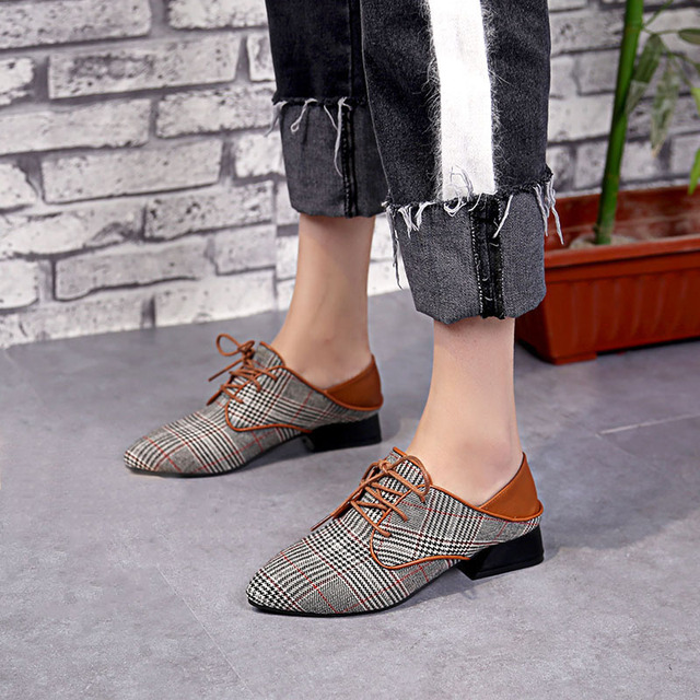 7352b1b8ae6c Women Casual Shoes Denim Shoes Oxford Casual Pointed Toe Lace-Up Sneaker Shoes  For Women Zapatillas Mujer Chaussures Femme