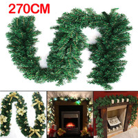 2 7m 9ft Artificial Green Wreaths Christmas Garland Fireplace Wreath For Xmas New Year Tree Home