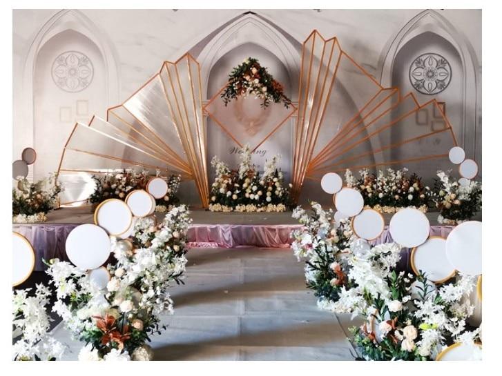 2019 dernier mariage en métal porte-fleurs allée route conduit fleur stand mariage décoration 93 cm de hauteur