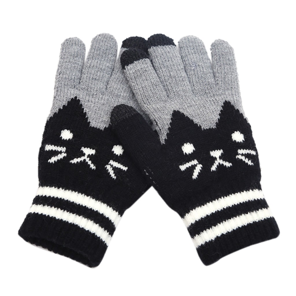 Hot Selling Nieuwe Vrouwen Mannen Winter Cut Cat Knit Klik Screen Vingers Screen Warme Fleece Handschoen Guantes Handschoenen