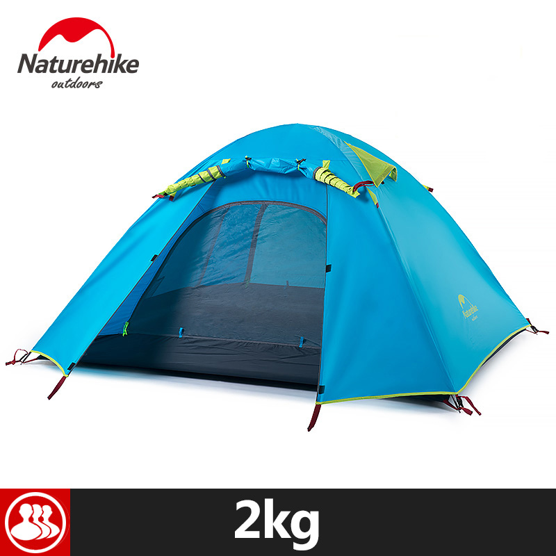 Naturehike 3 Person Outdoor Tent 210x160x115cm  3 Season Portable Rainproof Double Layer 5 Colors Aluminum Pole Camping Tent naturehike 3 person camping tent 20d 210t fabric waterproof double layer one bedroom 3 season aluminum rod outdoor camp tent