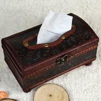 Handmade Rectangular Retro Wooden Tissue Box For Car Paper Cover Case Napkin Holder Home Decor