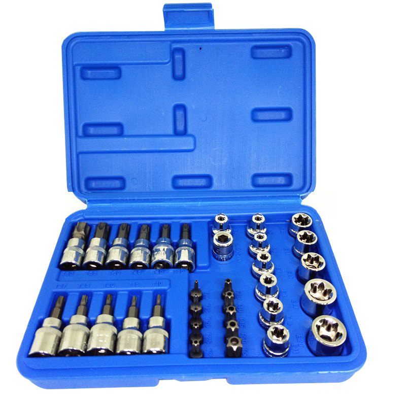 Torx Star Sockets And Bit Set Female E-torx Security Bits 3/8 Drive Bit Socket Set 17pc security star torx socket bit set e torx star female bit socket safety torx star bits cr v hand tool repair tool