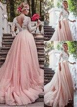 Lãng mạn Tulle V Neck Đường Viền Cổ Áo Tay Áo Ảo Tưởng A Line Wedding Dresses Với Ren Appliques Dài Tay Áo Hồng Bridal Dress