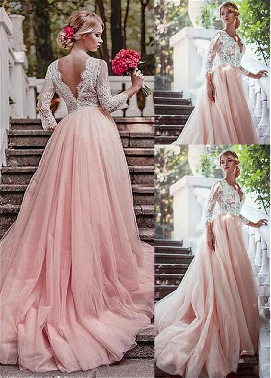 Romantic Tulle V-neck Neckline Illusion Sleeves A-Line Wedding Dresses With Lace Appliques Long Sleeves Pink Bridal Dress