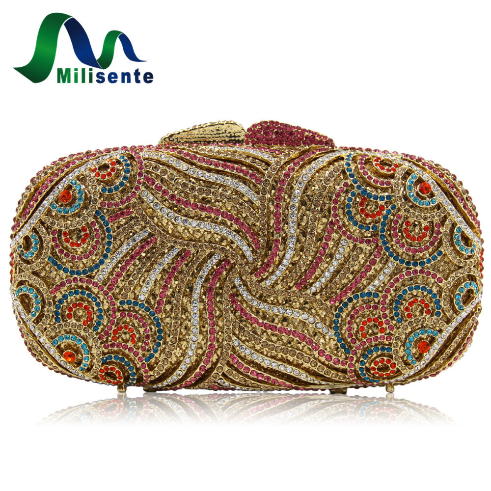 Milisente Milisente Wholesale Luxury Gold Crystal Clutches Lady Dinner Party Purses Women Wedding Clutch Bags milisente high quality luxury crystal evening bag women wedding purses lady party clutch handbag green blue gold white
