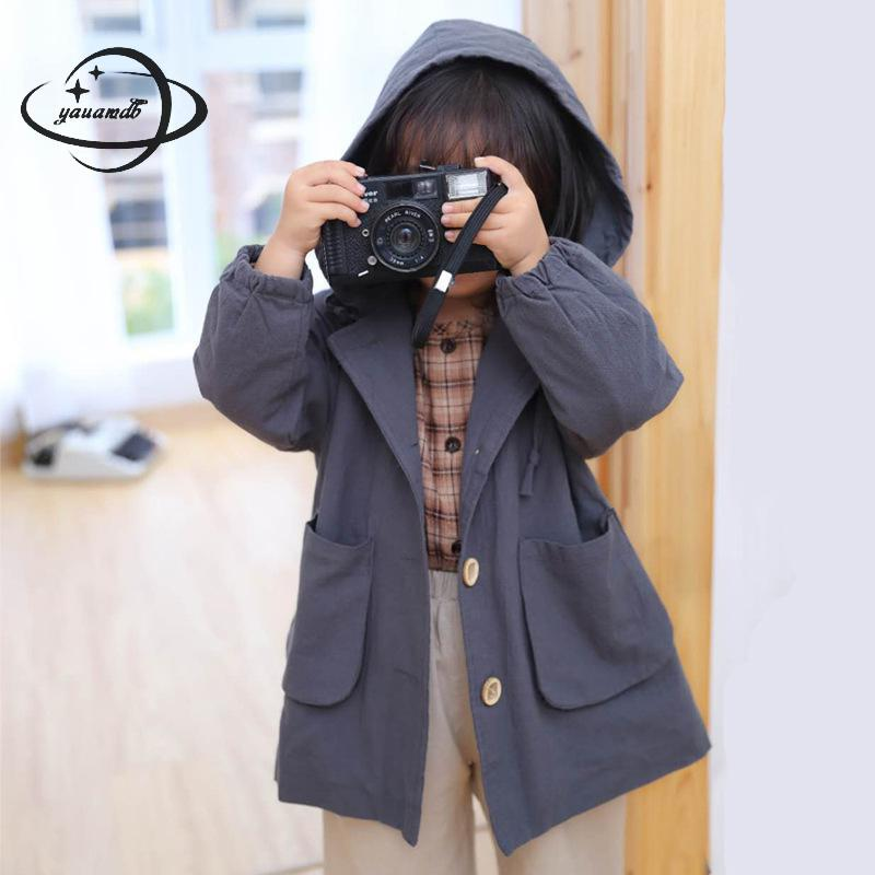 Bright Yauamdb Kids Trench Spring Autumn 2-7y Girls Jacket Hooded Overcoat Single Breasted Pocket Children Windbreaker Baby Clothes Y56 Skillful Manufacture