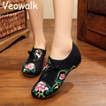 Veowalk Plus Size 41 Fashion Women Shoes,Old Beijing Mary Jane Flats Casual Shoes,Chinese Style Flower Embroidered Cloth Shoes