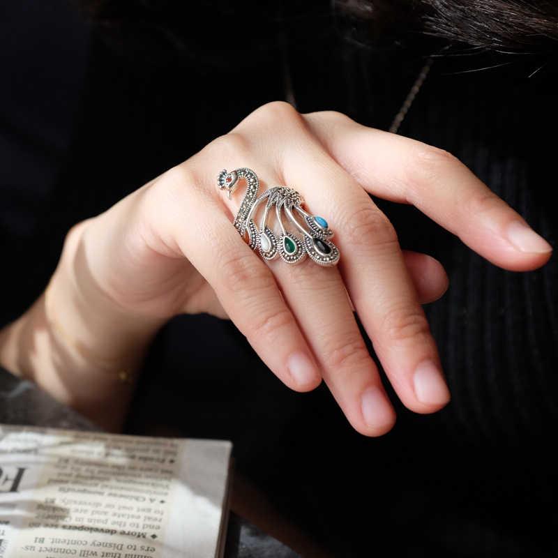 New Thái Lan 100% 925 Sterling Silver Ring Cho Phụ Nữ, Agate & Turquois Elegant Điều Chỉnh Ring Fine Đồ Trang Sức Bán Buôn