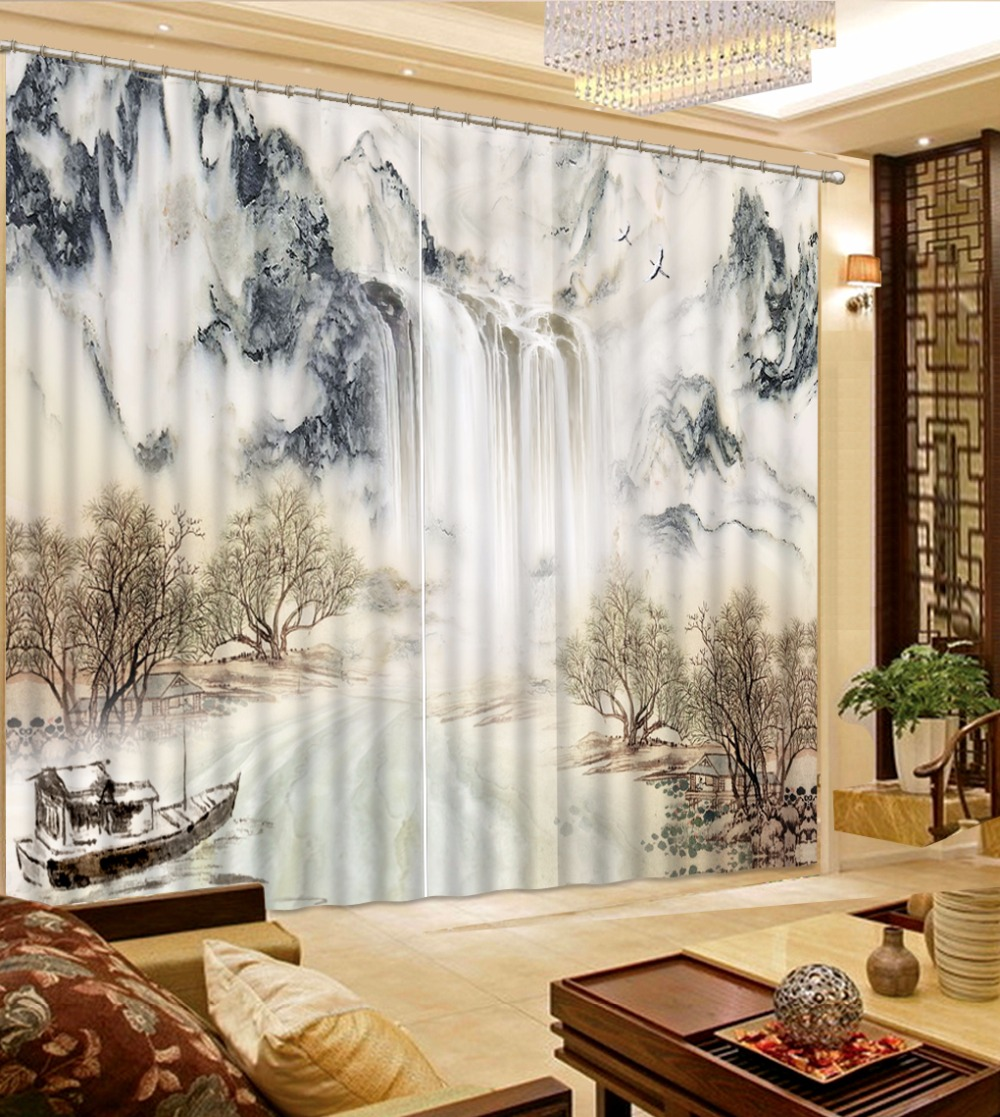 3D Curtain New Custom 3D Beautiful Black and White Landscape Curtains Ink Painting Curtains 3D Bathroom Shower Curtain