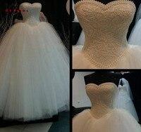 Wedding Dresses Ball Gown Sweetheart Lace Pearls Fluffy Romantic Vestidos De Noiva Formal Bridal Gown Mariage Custom Size XJ46