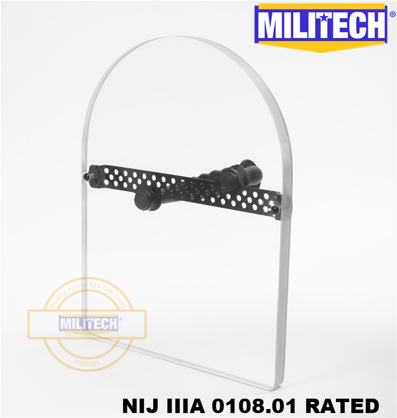MILITECH NIJ 0108.01 IIIA 3A Bulletproof Shield Hand Hold Ballistic Shield Tactical Police Ballistic Glass Arm Armor Shield