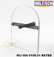MILITECH NIJ 0108.01 IIIA 3A Bulletproof Shield Hand Hold Ballistic Shield Tactical Police Ballistic Glass Arm Armor Shield