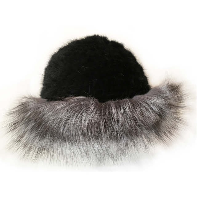 Wholesale Mink Fur Bucket Hat Female Real Knitted Mink Fur Hat Beanies Fashion Hat Brand Women Autumn Winter Warm Black Hat