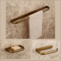 חדר רחצה נחושת עתיקה 3 pieces סט כולל צלחת סבון מחזיק נייר מגבת בר