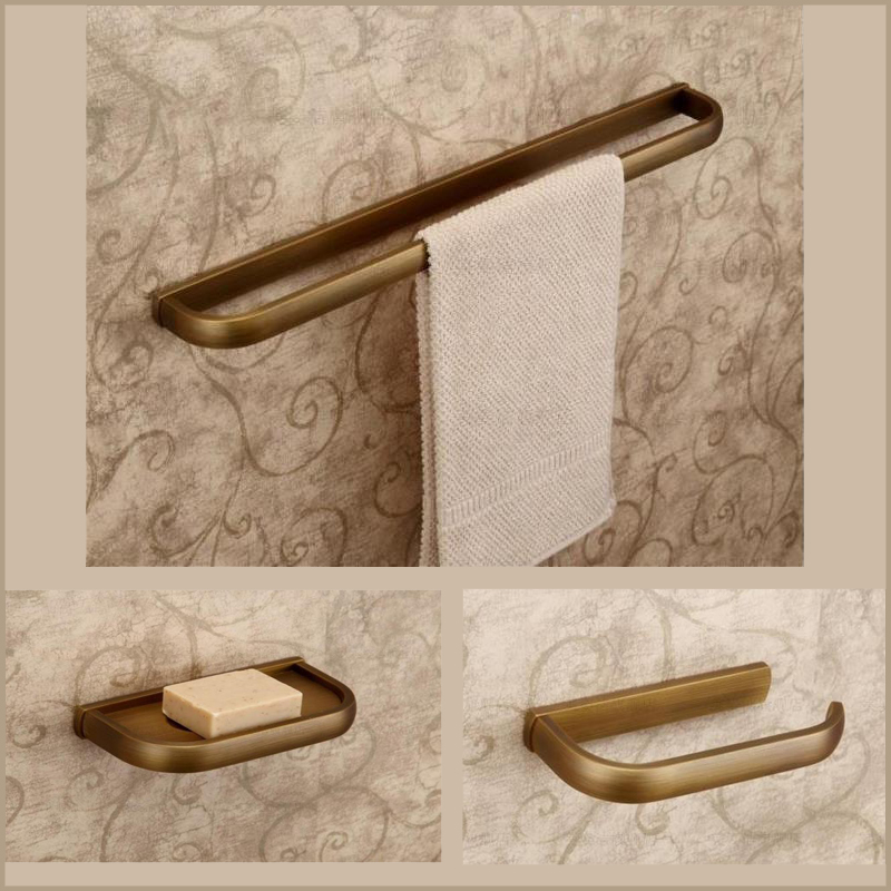 3 pieces Antique Copper Bathroom Set Include Towel Bar  Paper Holder Soap Dish fully copper bathroom towel ring holder silver
