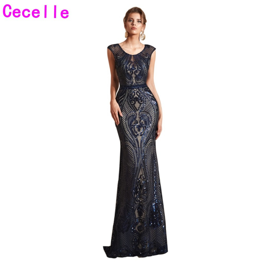 New Dark Navy Blue Sequins Mermaid Long Evening Dresses 2019 Women Formal Elegant Evening Party Wear Special Occasion Dress
