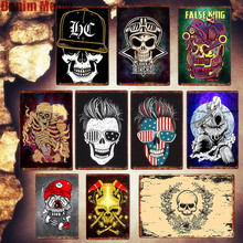 цена Skeleton Plaques Vintage Home Decoration Metal Plates Cafe Bar Wall Decor Europe Signs Skull Bikers Art Poster Friends Gift MN94 онлайн в 2017 году