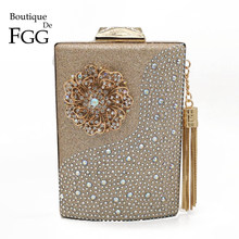 Butik Fgg Anggur Pot Bunga Rumbai Wanita Clutches Evening Dompet dan Berlian Pernikahan Clutch Koktail Kristal Tas(China)