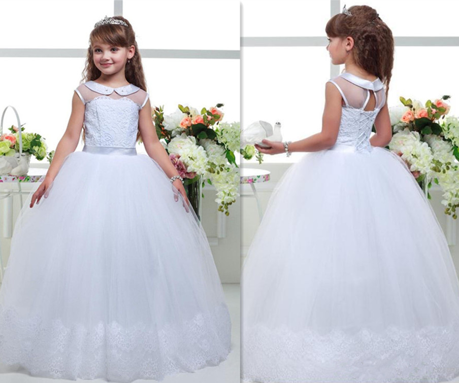 Princess White Lace Flower Girl Dresses 2018 New Sheer First Communion Gown Birthday Party Dresses Custom Any Size недорго, оригинальная цена