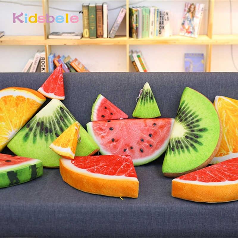 لعب محشوة أفخم لينة واقعية الفاكهة رمي وسادة لعب للأطفال البطيخ/البرتقال ديكور المنزل وسادة أريكة يميل على