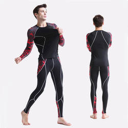 Леггинсы для фитнеса сжатия 2018 бренд мужской спортивный костюм из 2 предметов Термобелье Базовый Слой ММА crossfit Футболка мужская
