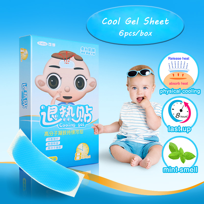 Детские охлаждающие гелевые листы Cofoe, 6 шт./кор., для снижения температуры, травяные патчи, обезболивающая паста, медицинский пластырь для жара для детей