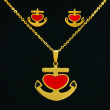 fashion New anchor heart 316L stainless steel Pendant Necklace and Earring i Set jewelry nice for women girl gift party