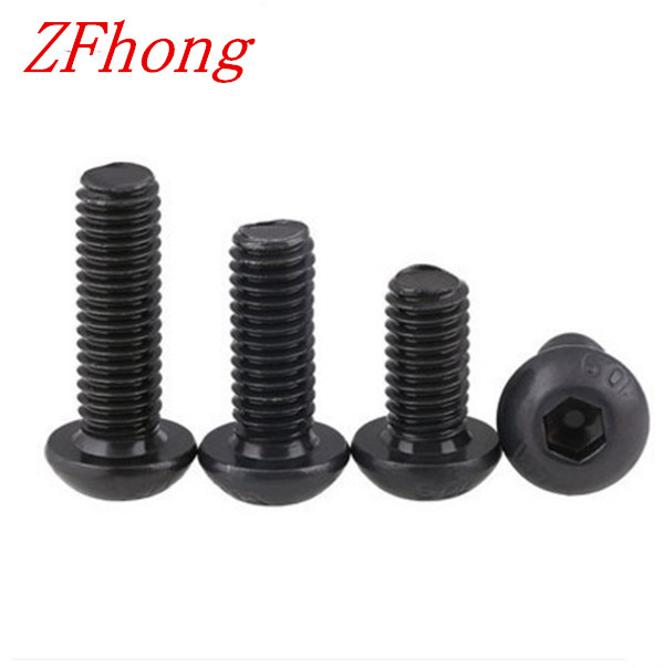 1000pcs Grade10.9  iso7380 M2.5*3/4/5/6/8/10/12/14/16/18/20 2.5mm Hex Socket Button Head Screws steel with black 7380 fan7380 sop 8