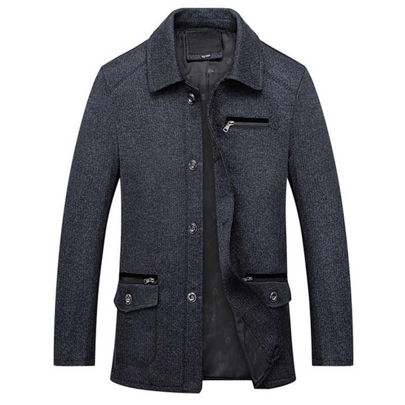 Мужская классическая Куртка на пуговицах на весну и осень, мужская повседневная верхняя одежда, мешковатый длинный плащ с длинными рукавами, пальто, деловая тонкая брендовая одежда 2018