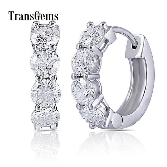Transgems 10 K الأبيض الذهب 2CTW 4 مللي متر GH عديم اللون المويسانتي أقراط للنساء مجوهرات الزفاف هدايا المناسبات-في الأقراط من الإكسسوارات والجواهر على  مجموعة 1