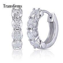 Transgems 10 K Beyaz Altın 2CTW 4mm GH Renksiz Mozanit Küpe Kadınlar için düğün takısı Yıldönümü Hediyeleri