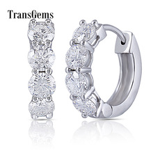Transgems 10K White Gold 2CTW 4mm GH Colorless Moissanite Earrings for Women Wedding Jewelry Anniversary Gifts