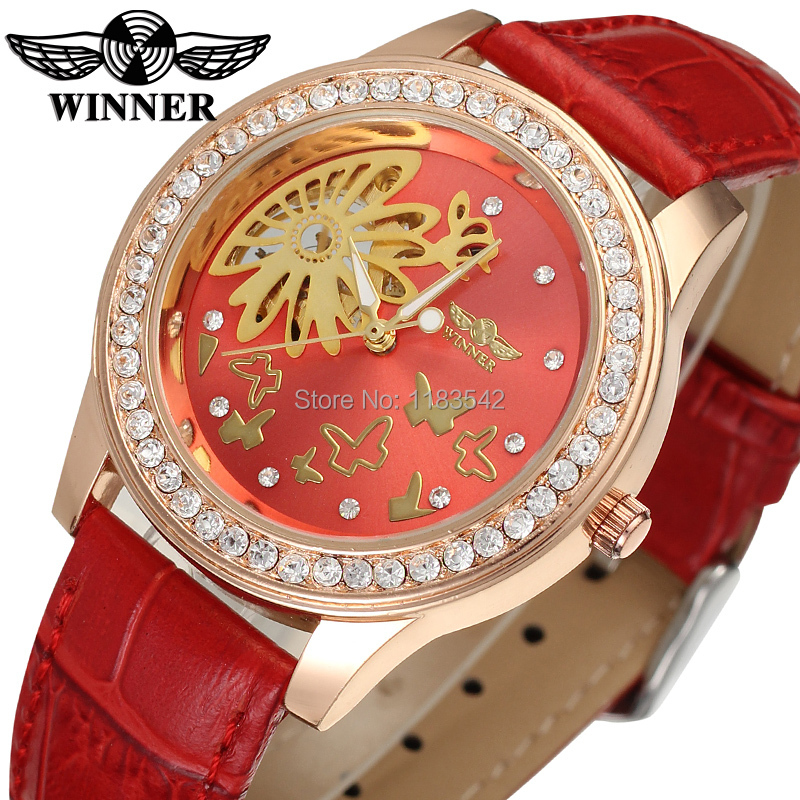 Relogio Feminino font b Winner b font hand watch for girl red color dial and leather