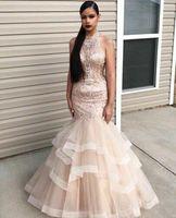 Украшенный розовым бисером вечернее платье для выпускного Длинные Русалка официальная Вечеринка платье индивидуальный заказ